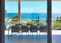 Outdoor seating with sea views