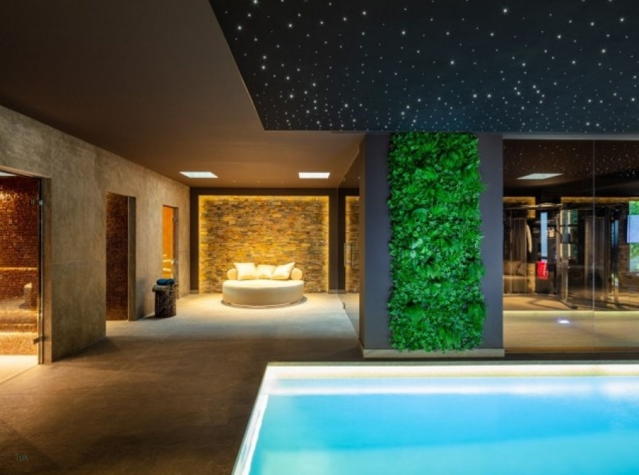 View of indoor swimming pool in brand new villa in Marbella