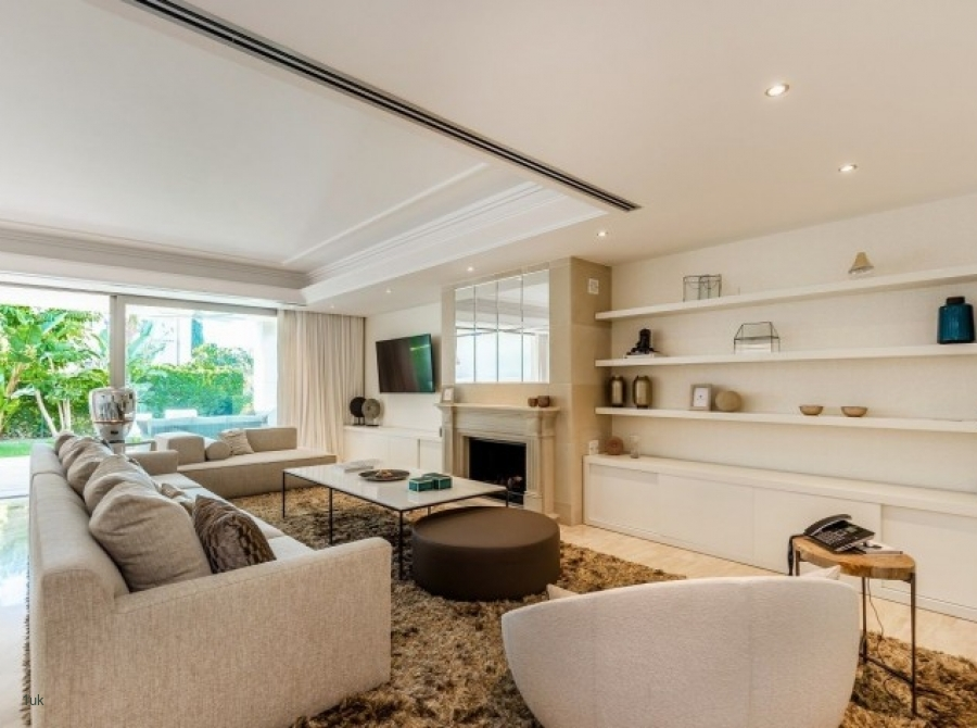Large open plan lounge and fire place