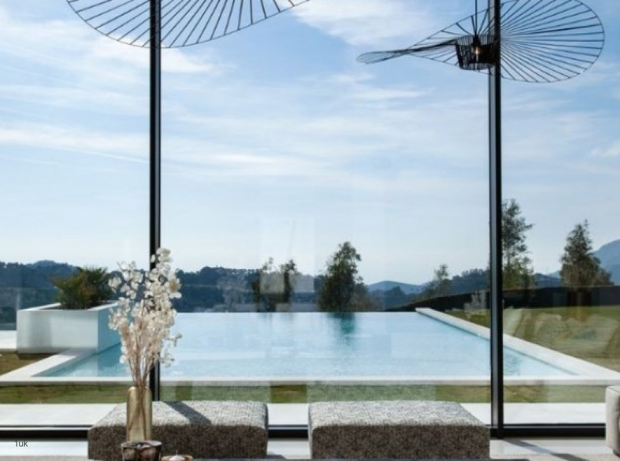 View of the pool inside from inside the villa