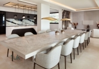Dining area with marble table top