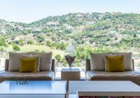 Outside seating with mountain view
