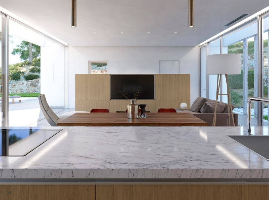 Open Plan kitchen and dining area with modern appliances