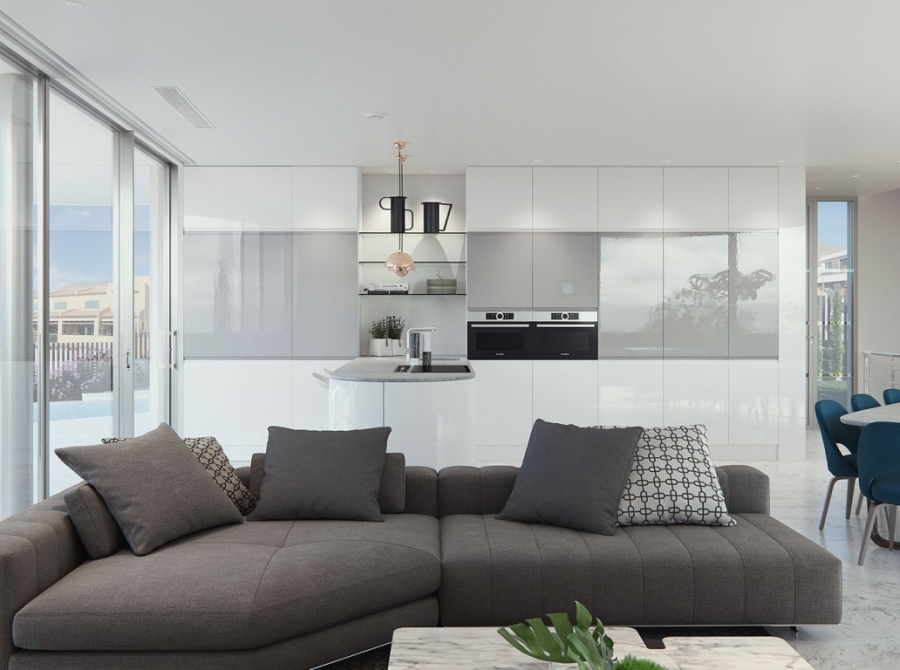 Bright open plan lounge and kitchen