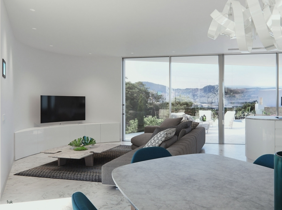 Marble breakfast table and TV