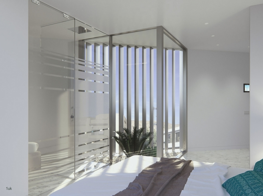 Master bedroom with large windows and blinds