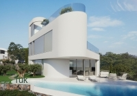 Side view of the Swimming pool and villa