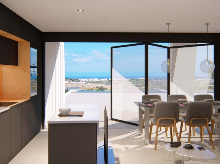 Open plan seating and dining with large sliding windows