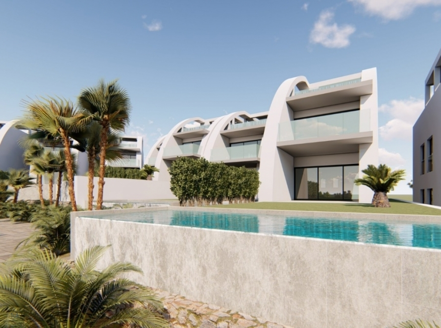 Side view of the villa and pool