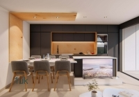 Full view of the open layout kitchen and lounge